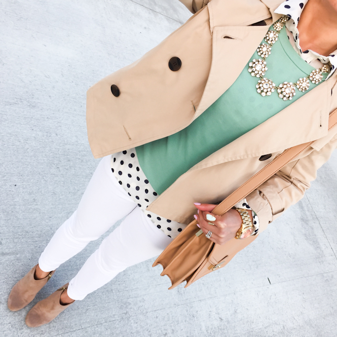Forever 21 cropped trench coat Nordstrom Abound suede ankle booties Jcrew mint long sleeve tee JCrew polka dot popover shirt camel rider bag