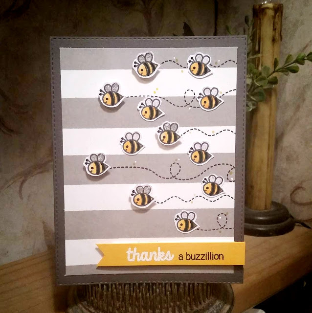 Sunny Studio Stamps: Backyard Bugs Bumblebee Thank You Card by Rebekah Weckerly
