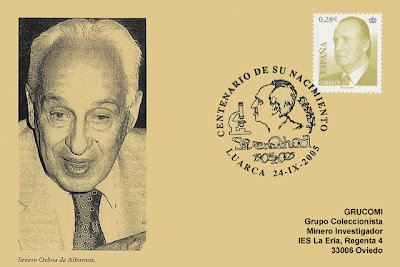 Tarjeta con matasellos del centenario nacimiento de Severo Ochoa 2005