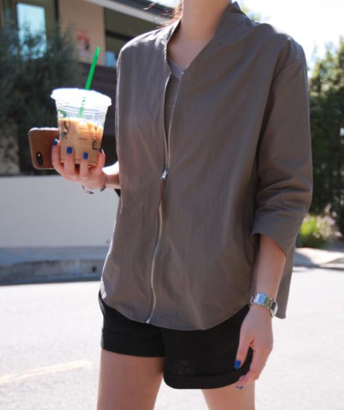 Zip-Up 2/3 Sleeve Cardigan