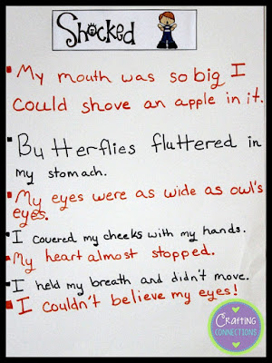 "Showing sentences for SHOCKED. This blog post contains a complete ""Show, Don't Tell"" writing lesson and the printables you'll need to create the anchor chart and replicate the activities!"