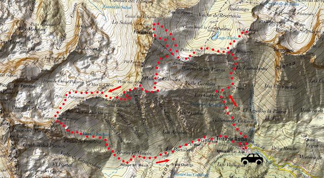 Mapa de la ruta a Peña Llana, Fariñentu, Prao Albo y Alto los Camisus