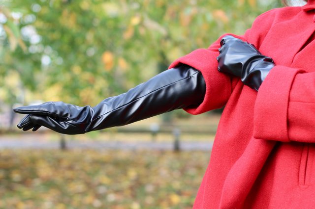 Collectif elbow length faux leather gloves