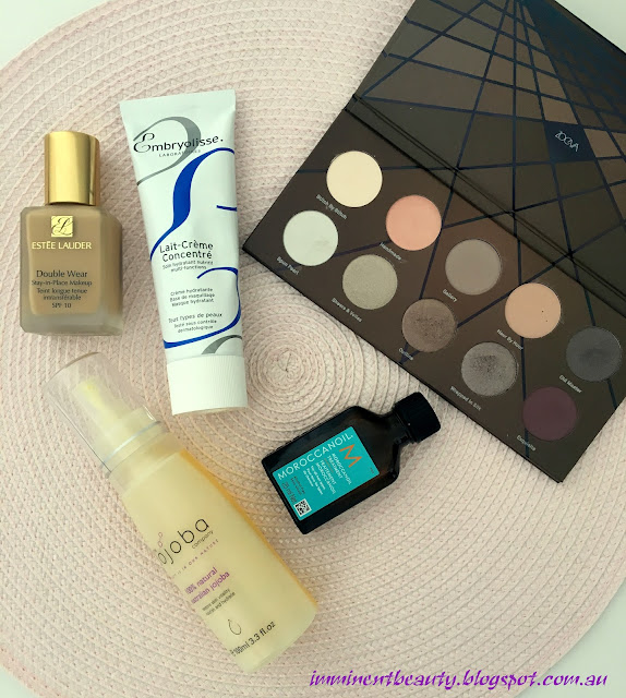 Top five favourite beauty products for September 2016 including Zoeva En Taupe palette, Estee Lauder Double Wear, Morocanoil, Jojoba Oil and Embryolisse Lait-Creme Concentrate