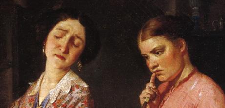 "Detail of two women's hair, ""The Young Wife: First Stew"" (1854)"