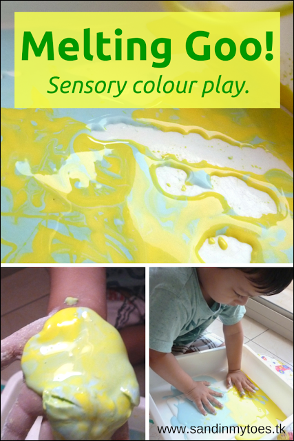 A sensory colour activity with goo or oobleck for little kids.