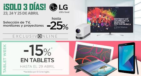 Mejores ofertas promociones ¡Solo 3 días LG! y Tablet Week de El Corte Inglés