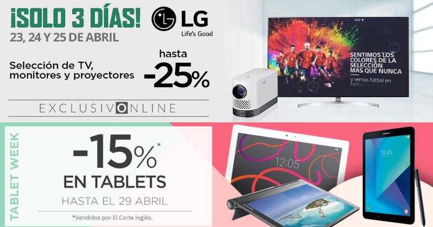 Mejores ofertas promociones solo 3 d as lg y tablet for Ofertas de portatiles en el corte ingles