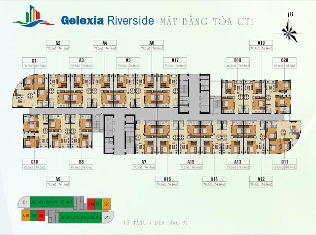 Mặt bằng tổng thể tòa CT1 chung cư Gelexia Riverside