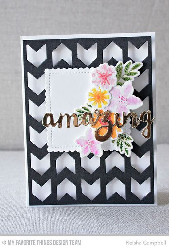 Handmade tags from Keisha Campbell featuring Mini Modern Blooms stamp set and Die-namics, Doubly Amazing, Stitched Mini Scallop Squares STAX, and Chunky Chevron Cover-Up Die-namics #mftstamps