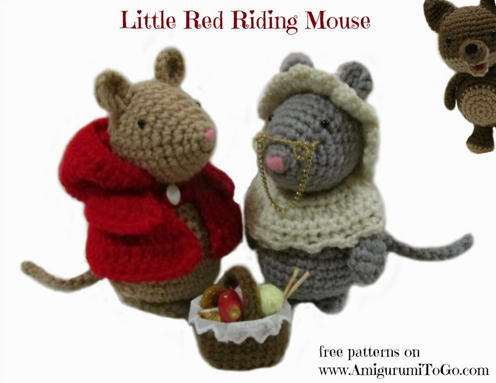 Amigurumi Mouse Pattern Crochet : Little red riding mouse plus granny outfit ~ amigurumi to go