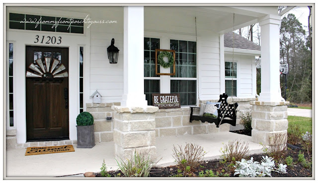 Farmhouse Front Porch-Early Spring Porch Decor-Porch Swing-From My Front Porch To Yours
