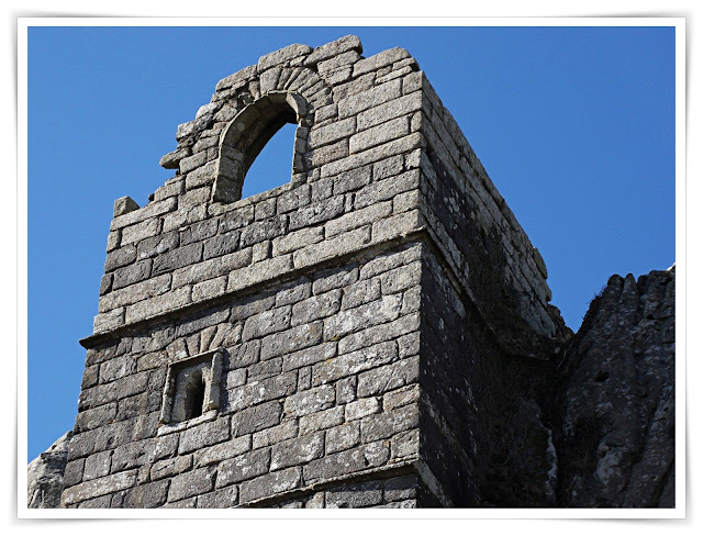 Showing detail of the chapel onRoche Rock, Cornwall