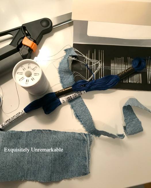 DIY Denim Ring Supplies on a table