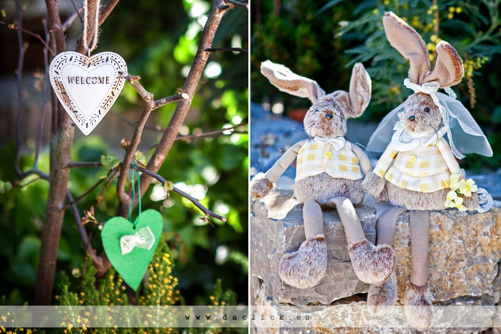 conejos de peluche vestidos de novios