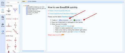 اضافة مشروع جديد على موقع Easyeda
