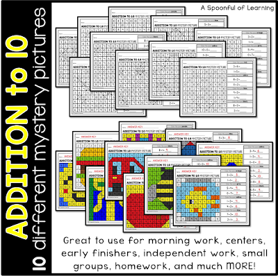 Math and Literacy Mystery Pictures - Additiona 10