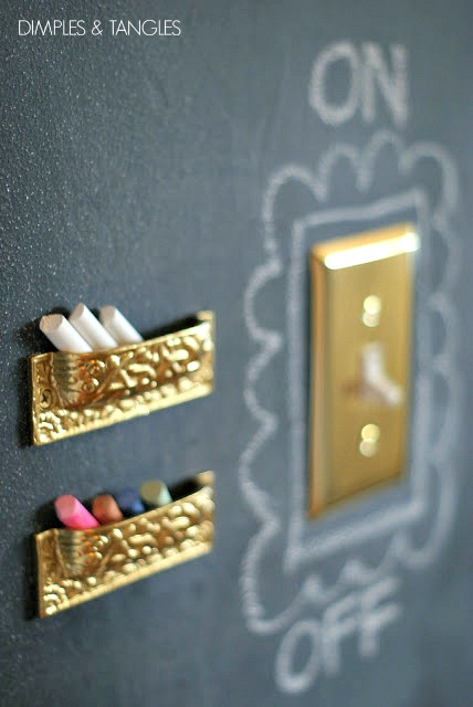 I Took Pam S Suggestion And Used A Few Upside Down Drawer Pulls For Little Chalk Holders Changed Out The Switch Plates To Br