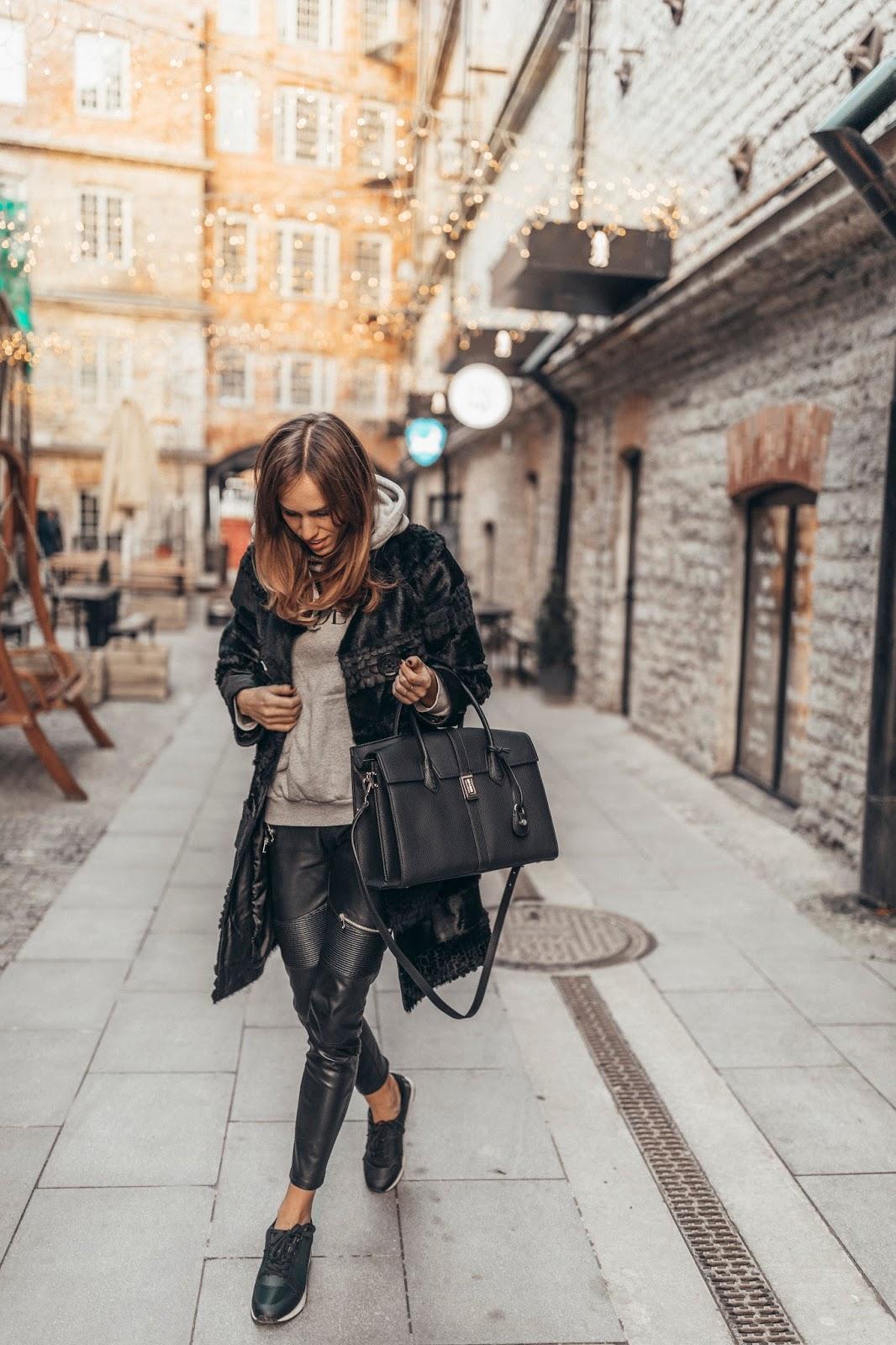 leather pants fur coat hoodie sneakers winter outfit