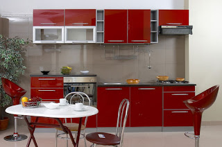 Modern Kitchen Design, Red Furniture