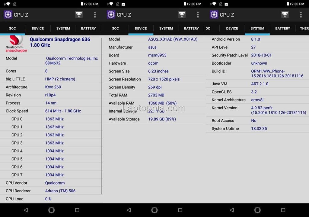 CPU-Z Asus Zenfone Max M2 ZB633KL