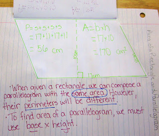 photo of area and perimeter of parallelograms @ Runde's Room
