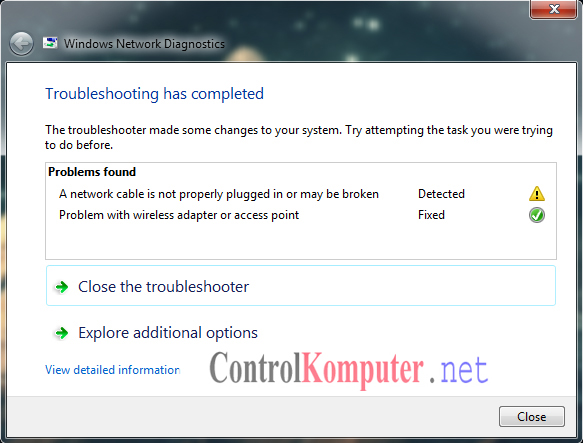 Cara Mengatasi unidentified network windows 7,8,10 ~ Control