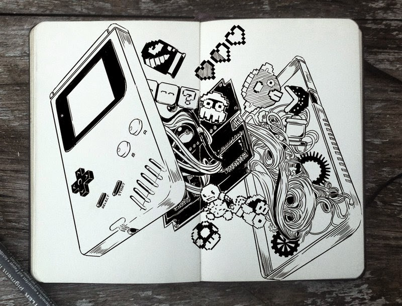 23-Inside-of-a-Game-Boy-Gabriel-Picolo-365-Days-of-Doodles-end-of-2014-www-designstack-co