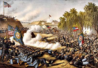 Batalla de Corinto, Mississippi, octubre 3-4, 1862, litografía de color.
