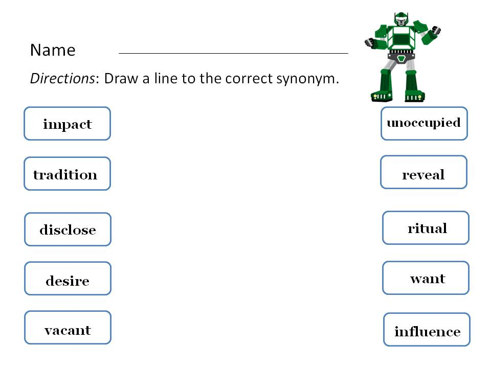 A Speechie's World: Robotic Synonyms and Antonyms