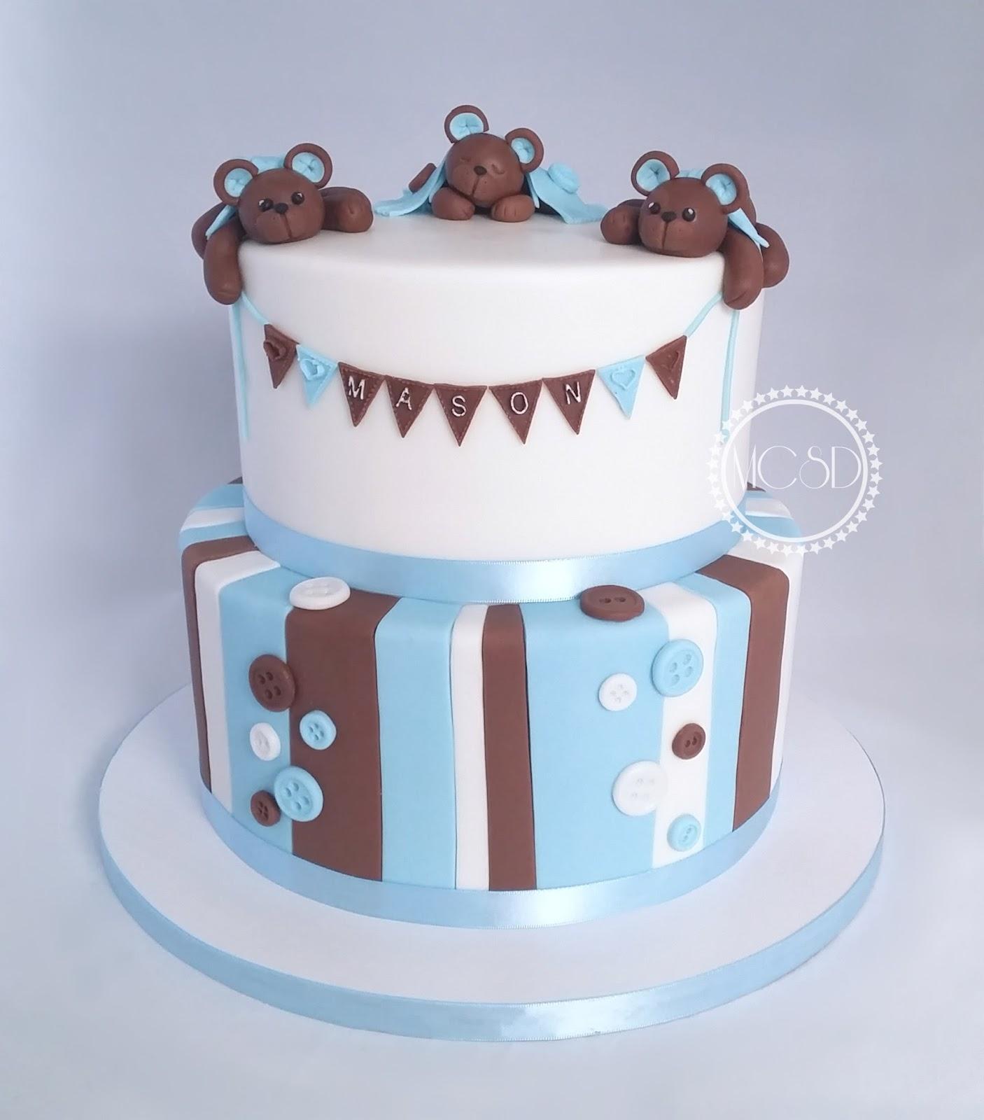 My Cake Sweet Dreams Cute Teddy Bear Baby Shower Cake With Stripes