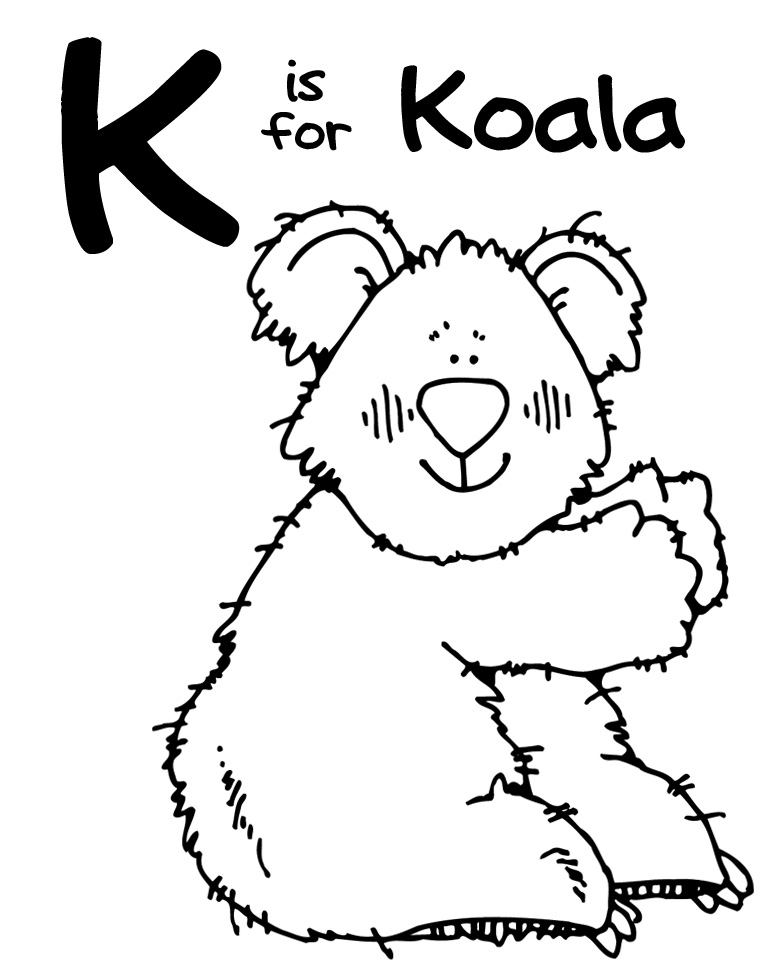 k is for koala bear coloring pages - photo #2