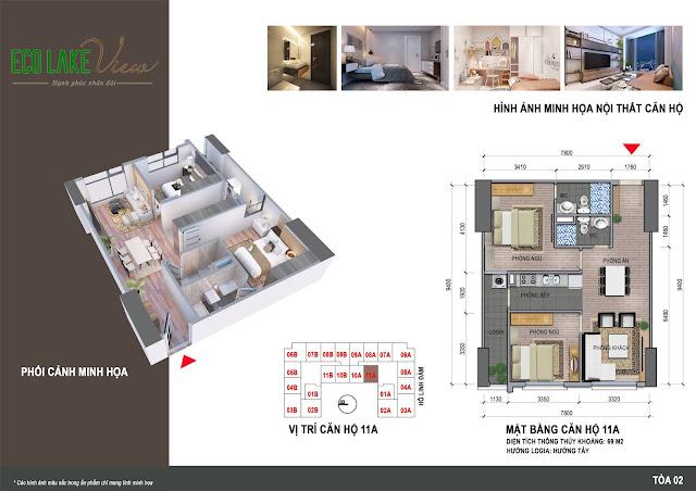 Thiết kế căn hộ 11A tòa HH2 chung cư ECO LAKE VIEW