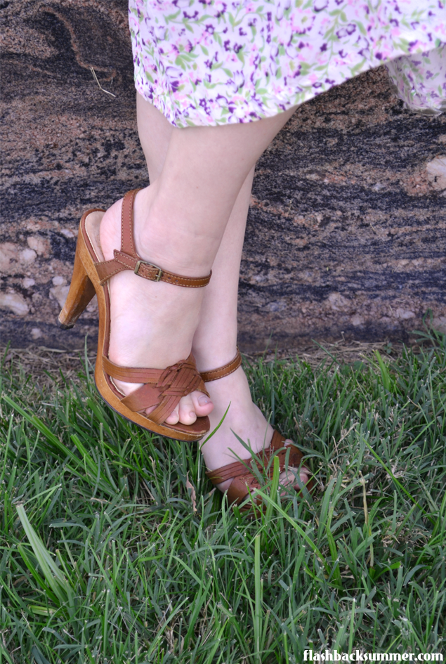 Flashback Summer: Rescued Rayon - restored 1940s dress, 70s 80s wood leather heels