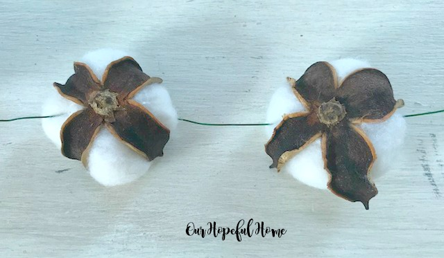 cotton boll floral wire garland