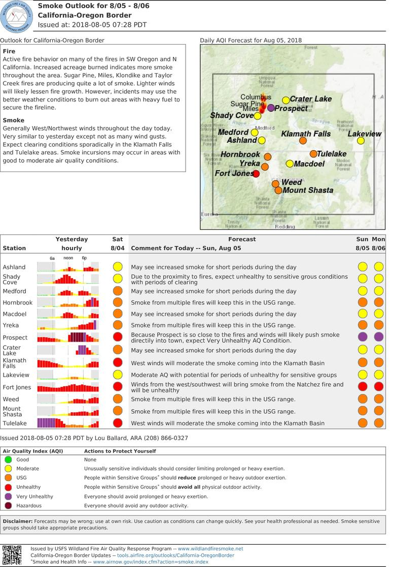 sunday and monday smoke outlook for oregon california border includes i 5 corridor and crater lake area