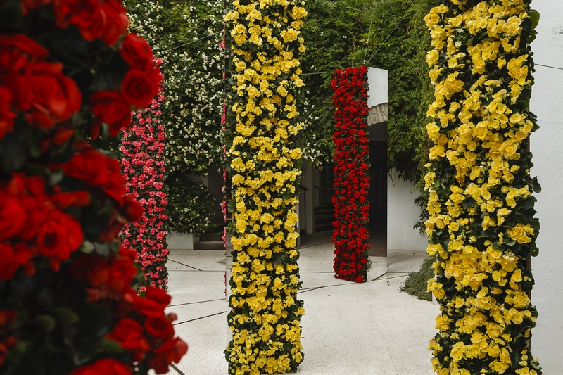 Columnas con flores de diferentes colores en Instalacion floral en un patio institucional de Córdoba