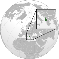 Location of Albania on the globe