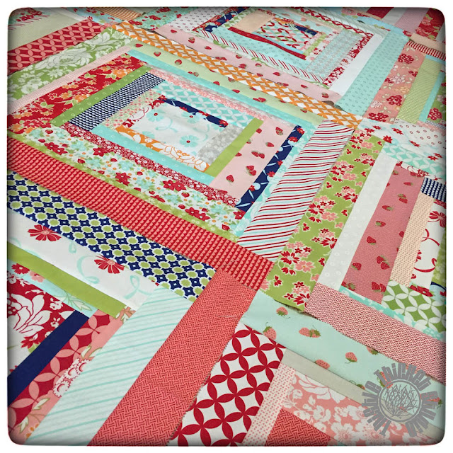 Bonnie and Camille Log Cabin Block Swap by Thistle Thicket Studio