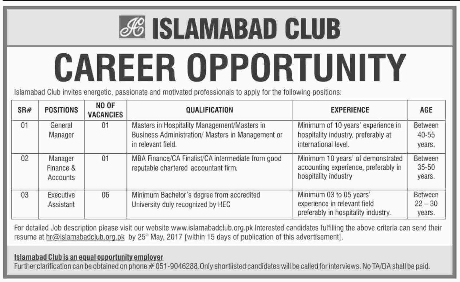 islamabad club latest jobs 8+ vacancies 9 may 2017