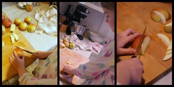 apple galette slicing apples