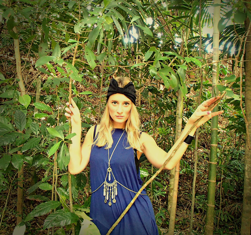 blue cheap monday dress with turban and bodychain