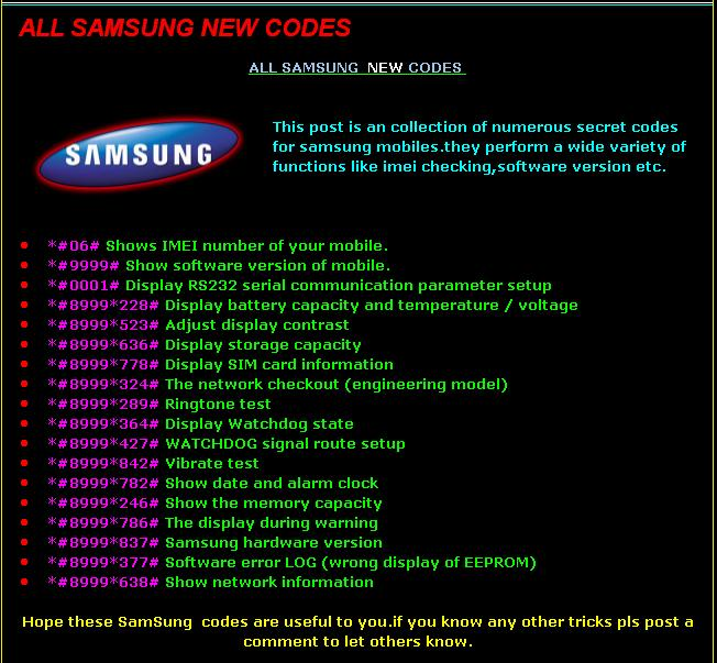 Samsung All Handset Reset And Programming Codes