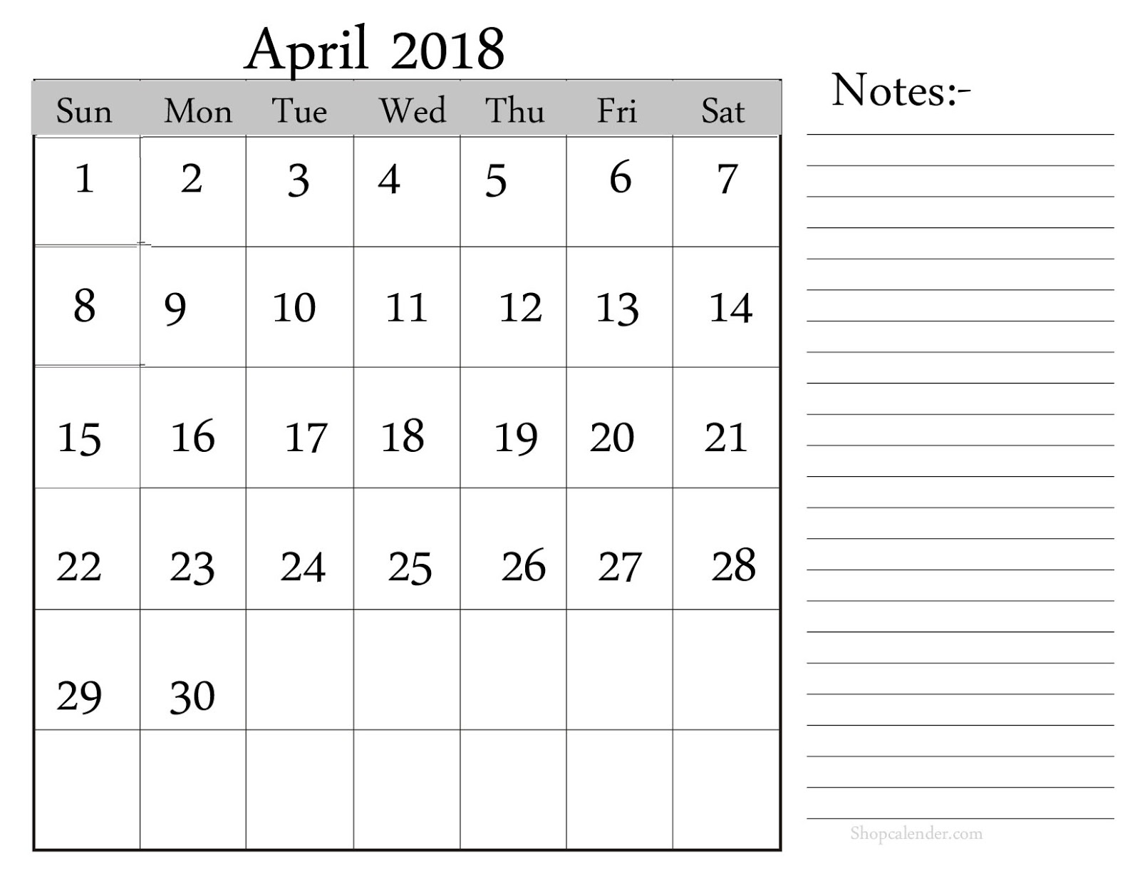 April Calendar With Notes : April printable calendar blank template