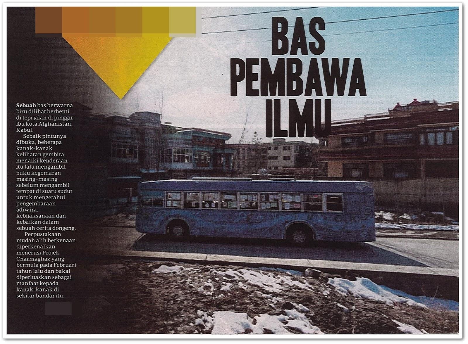 Bas pembawa ilmu - Keratan akhbar Harian Metro 12 Mac 2019