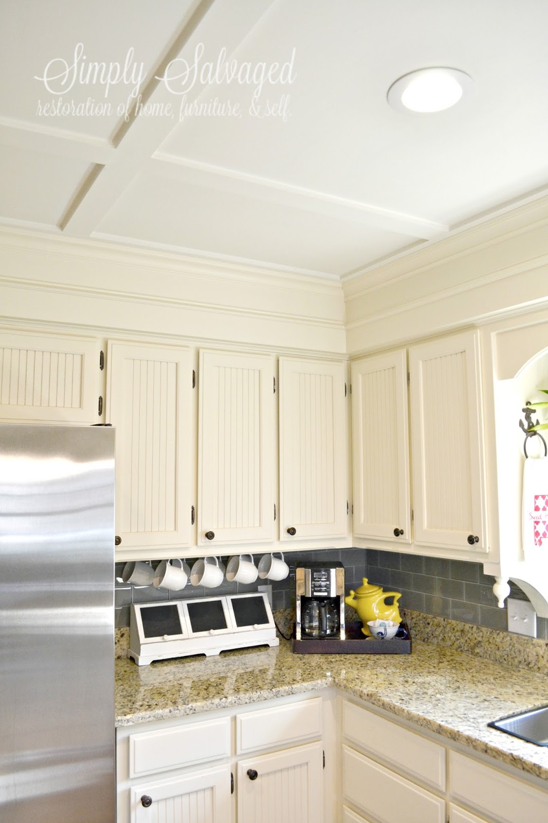 Should Kitchen Cabinets Go Up To Ceiling Simply Salvaged How To Dress Up Your Boring Cabinets