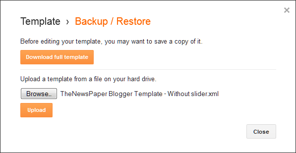 How to upload a blogger template: Backup / Restore window