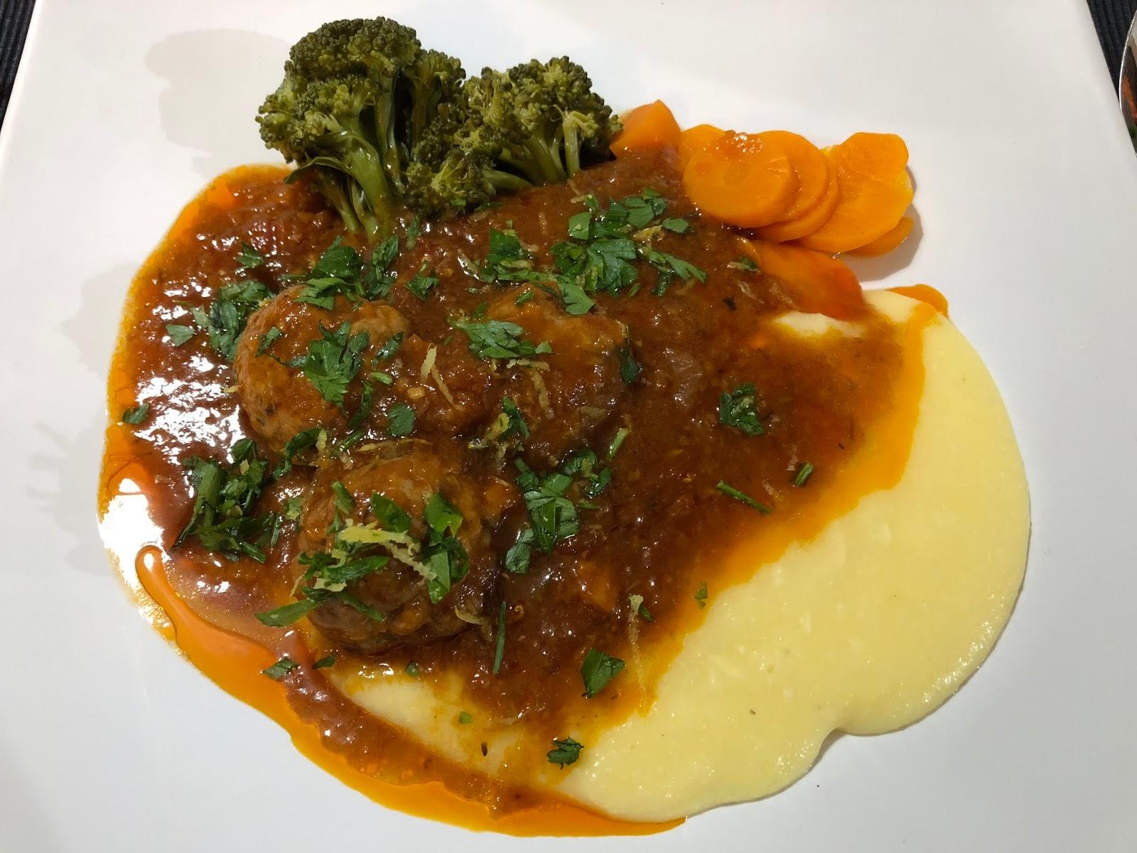 Pork and Veal Meatballs on Polenta with Gremolata - A Dash ...