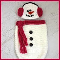 Saco muñeco de nieve a crochet