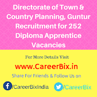 Directorate of Town & Country Planning, Guntur Recruitment for 252 Diploma Apprentice Vacancies